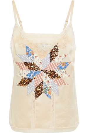 Coach Woman Patchwork-effect Embellished Satin Camisole Cream Size 10