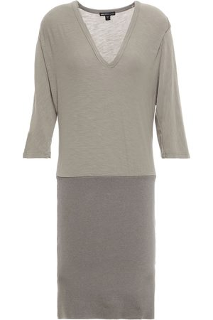 James Perse Woman Paneled Stretch-cotton And Ribbed Jersey Mini Dress Gray Size 0