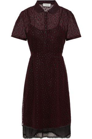 Coach Woman Tie-back Rickrack-trimmed Glittered Cupro-organza Shirt Dress Merlot Size 10