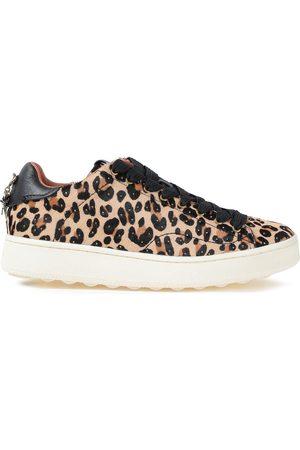 Coach Woman Studded Leopard-print Calf Hair Sneakers Animal Print Size 6