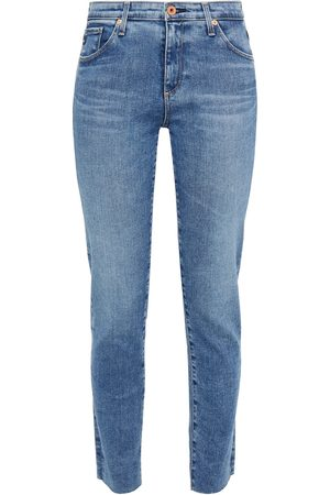 AG Jeans Women Slim - Woman Prima Ankle Cropped Frayed Mid-rise Slim-leg Jeans Mid Denim Size 23