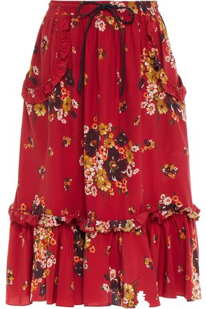 COACH Women Printed Skirts - Woman Leather-trimmed Gathered Floral-print Crepe De Chine Skirt Crimson Size 2
