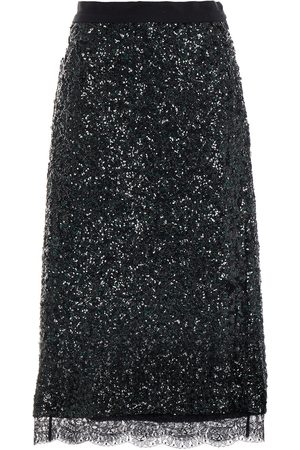 Coach Woman Lace-trimmed Sequined Mesh Midi Skirt Size 10