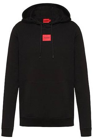 HUGO BOSS Hooded sweatshirt in terry cotton with red logo label