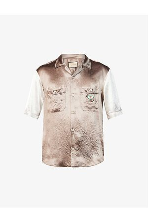 Gucci Men Casual - Hawaii oversized satin bowling shirt