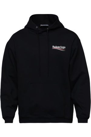 Balenciaga Logo-print Cotton-jersey Hooded Sweatshirt - Mens