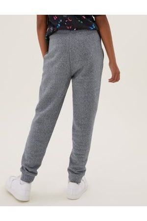 Marks & Spencer Boys Unisex Cotton Joggers (6-16 Yrs) - 6-7 Y - Charcoal, Charcoal, Marl,Navy