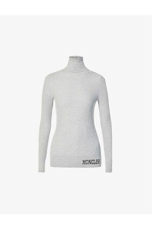 Moncler Women Turtlenecks - Brand-embroidered turtleneck wool jumper