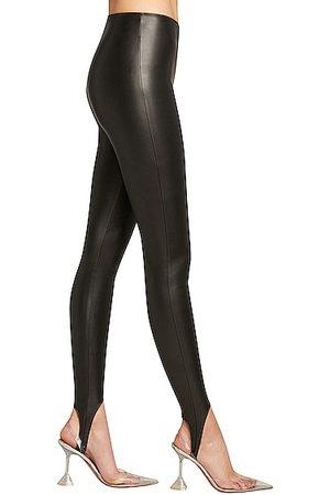 Wolford X Amina Muaddi Vegan Leather Stirrup Legging in