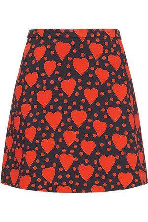 Saint Laurent Heart Print Viscose Mini Skirt