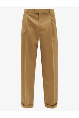 Bottega Veneta Relaxed-leg Pleated Wool Gabardine Trousers - Mens
