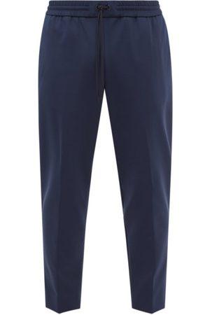 Moncler Drawstring Cropped Jersey Trousers - Mens - Dark Navy