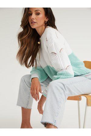 Michelle Keegan Colour Block Stripe Cuff Jumper