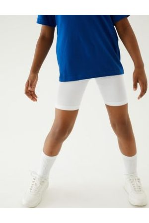 Marks & Spencer Girls 2pk Girls' Cotton with Stretch School Shorts (2-16 Yrs) - 7-8 Y - , , ,Navy Mix