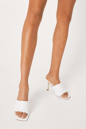 NASTY GAL Women Heels - Womens Raffia Square Toe Heeled Mules