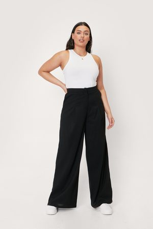NASTY GAL Womens Plus Size High Waisted Wide Leg trousers