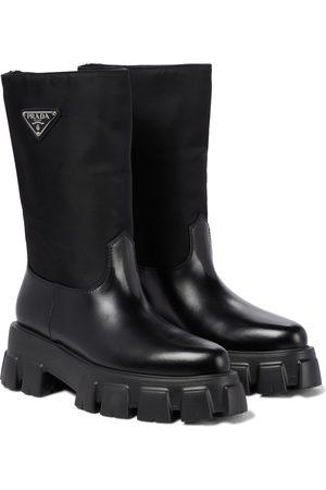 Prada Monolith nylon and leather boots