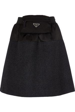 Prada Re-Nylon and wool miniskirt