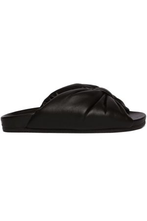 Balenciaga Puffy Knotted Leather Slides - Womens