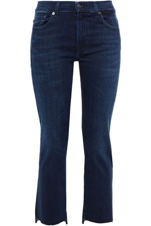 7 FOR ALL MANKIND Woman Distressed Mid-rise Slim-leg Jeans Dark Denim Size 23