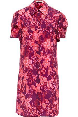 ALICE + OLIVIA Women Printed Dresses - Woman Jem Tiered Floral-print Cupro-twill Mini Shirt Dress Magenta Size L