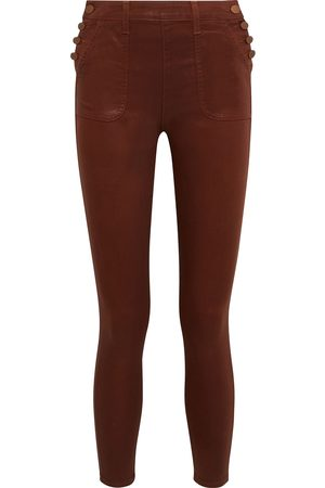 ALICE + OLIVIA Women Skinny - Woman Donald Button-detailed Coated High-rise Skinny Jeans Size 24