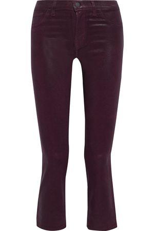 J BRAND Woman Selena Coated Low-rise Kick-flare Jeans Burgundy Size 25