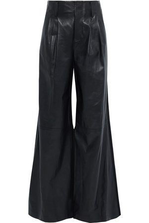 ALICE + OLIVIA Woman Eloise Leather And Wool-blend Twill Wide-leg Pants Size 0