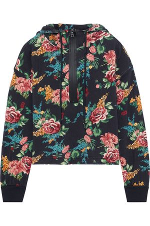 ALICE+OLIVIA Women Hoodies - Woman Quinlan Cropped Floral-print French Cotton-terry Hoodie Size L