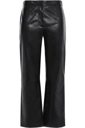 Sandro Women Leather Trousers - Woman Cropped Leather Straight-leg Pants Size 34