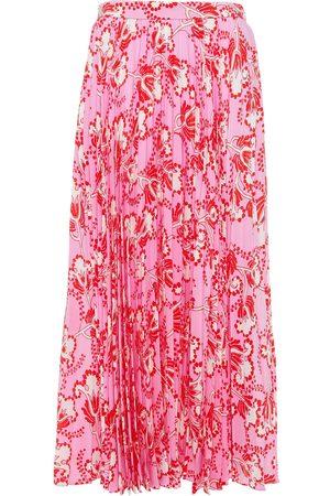 VALENTINO Women Midi Skirts - Woman Pleated Printed Silk Crepe De Chine Midi Skirt Size 36