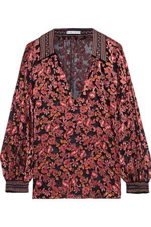 ALICE+OLIVIA Women Blouses - Woman Desiree Floral-print Burnout Satin Blouse Antique Rose Size L