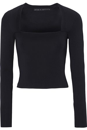 ALICE+OLIVIA Women Tops - Woman Ricarda Cropped Stretch-knit Top Size L