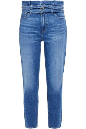 7 FOR ALL MANKIND Women Slim - Woman Cropped Pleated High-rise Tapered Jeans Mid Denim Size 23