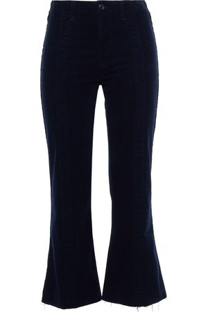 AG JEANS Women Wide Leg Trousers - Woman Quinne Frayed Cotton-blend Corduroy Kick-flare Pants Midnight Size 23