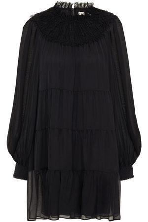 ALICE+OLIVIA Women Dresses - Woman Kellyann Tiered Lace-trimmed Shirred Silk-chiffon Mini Dress Size 0