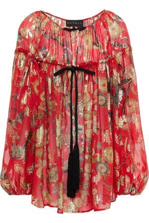 Dundas Women Blouses - Woman Gathered Metallic Floral-print Silk And Lurex-blend Blouse Size 36