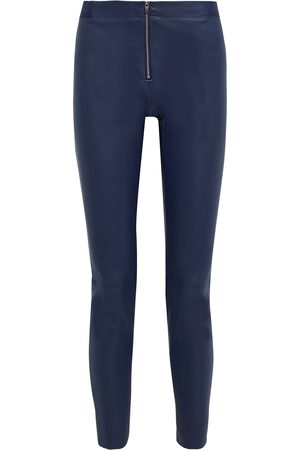 ALICE+OLIVIA Women Trousers - Woman Zip-detailed Stretch-leather Leggings Navy Size 0