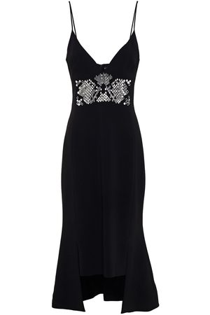 DAVID KOMA Woman Asymmetric Fluted Embellished Crepe Midi Dress Size 10