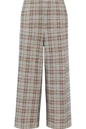 ALICE + OLIVIA Women Wide Leg Trousers - Woman Elba Cropped Checked Metallic Stretch-knit Wide-leg Pants Size L
