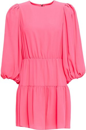 ALICE + OLIVIA Women Dresses - Woman Shayla Tiered Crepe De Chine Mini Dress Bubblegum Size 0