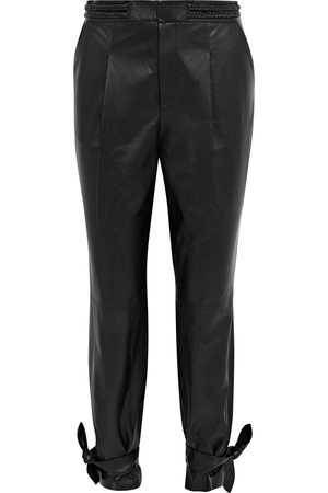 ALICE+OLIVIA Women Trousers - Woman Cropped Tie-detailed Leather Tapered Pants Size 0