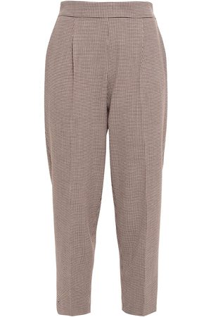 DAY Birger et Mikkelsen Women Trousers - Woman Cropped Houndstooth Tweed Tapered Pants Chocolate Size 34