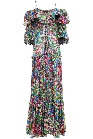 DUNDAS Women Maxi Dresses - Woman Tiered Cold-shoulder Printed Fil Coupé Silk-blend Voile Maxi Dress Off- Size 36