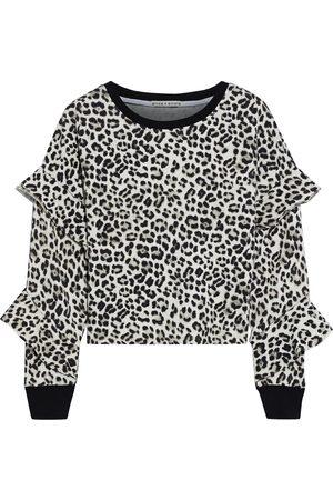 ALICE + OLIVIA Woman Nettie Ruffled Leopard-print French Cotton-terry Sweatshirt Animal Print Size L