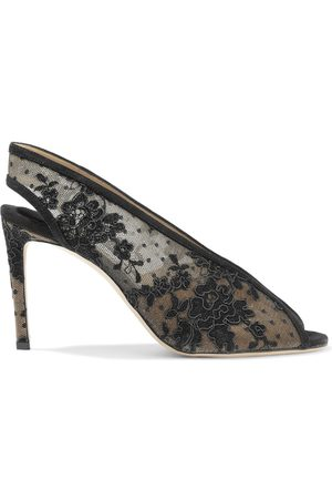 Jimmy Choo Woman Shar 85 Suede-trimmed Corded Lace Slingback Pumps Size 36