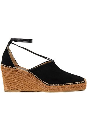 Jimmy Choo Woman Dulcet 90 Leather And Suede Wedge Espadrilles Size 40