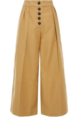 REJINA PYO Women Culottes - Woman Brodie Pleated Two-tone Cotton Culottes Camel Size 10