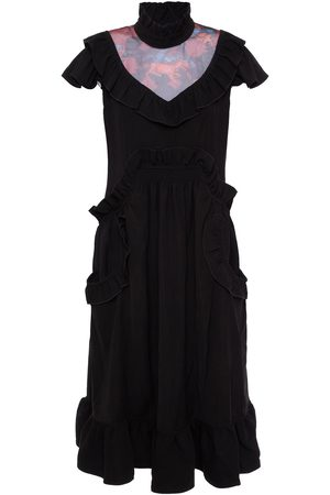 Coach Women Midi Dresses - Woman Ruffled Mesh-paneled Crepe Midi Dress Size 0