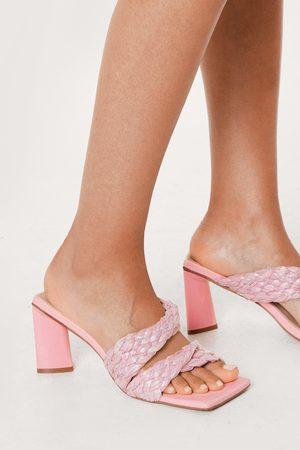 NASTY GAL Womens Raffia Double Strap Heeled Mules